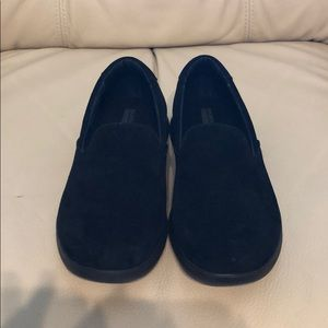 Sketchers max go step lite black suede slide on